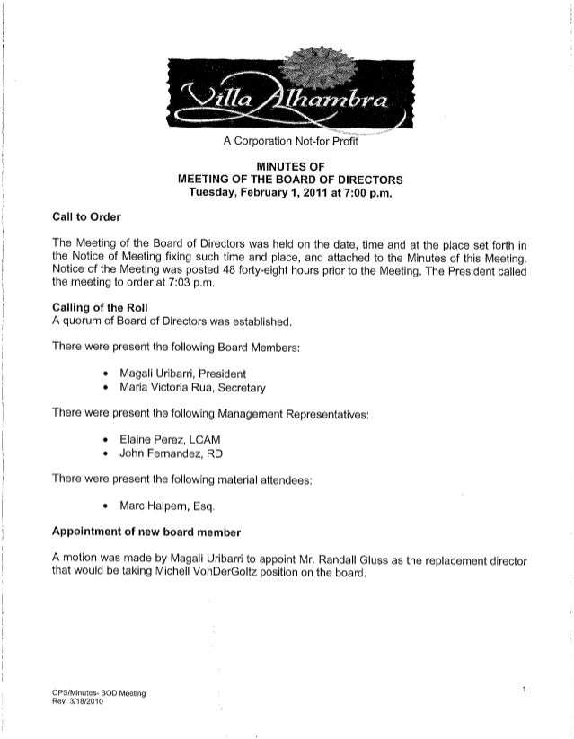 Villa Alhambra Board Meeting Minutes 2-1-2011