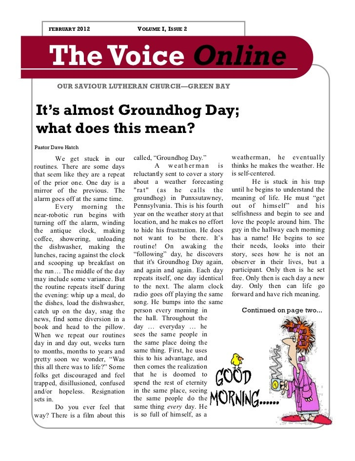 FEBRUARY   2012                 VOLUME I, ISSUE 2     The Voice Online        OUR SAVIOUR LUTHERAN CHURCH—GREEN BAYIt's al...