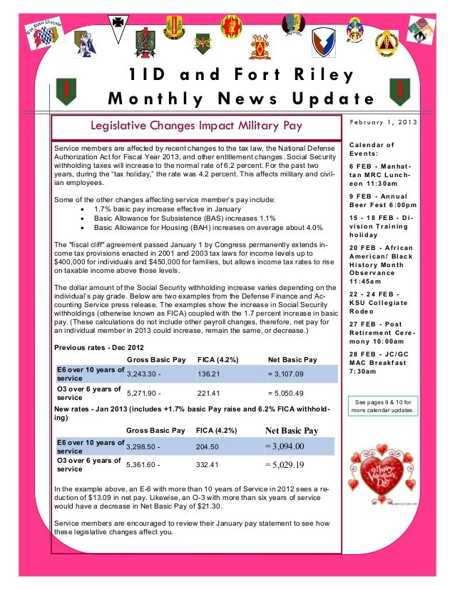 1ID and For t Riley                     Monthly News Update               Legislative Changes Impact Military Pay         ...
