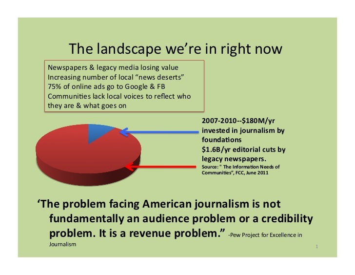 The	  landscape	  we're	  in	  right	  now	     Newspapers	  &	  legacy	  media	  losing	  value	     Increasing	  number	...
