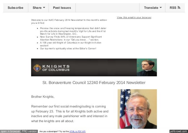 Subscribe  Share  Past Issues  Welcome to our KofC February 2014 New sletter! In this month's edition you w ill find:  Tra...