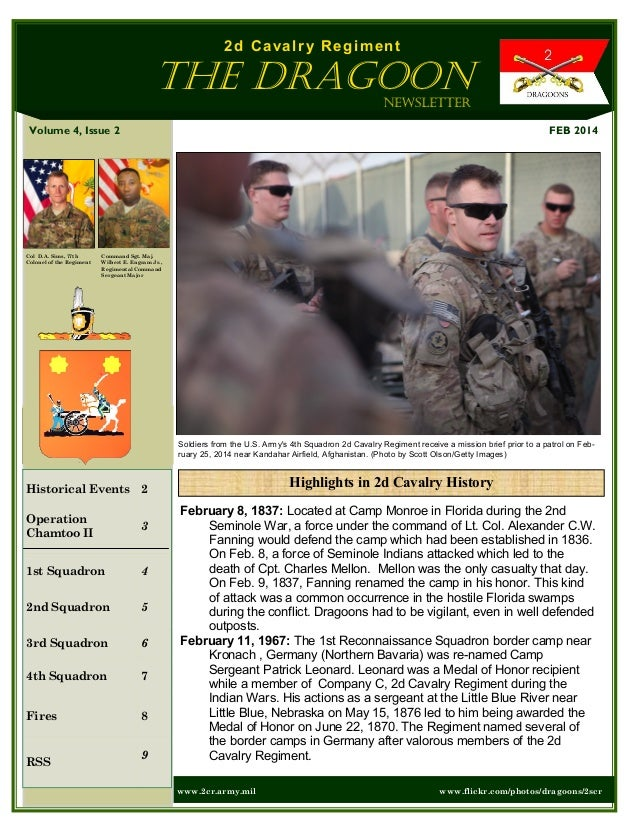 2d Cavalry Regiment  The Dragoon Newsletter FEB 2014  Volume 4, Issue 2  Col D.A. Sims, 77th Colonel of the Regiment  Comm...