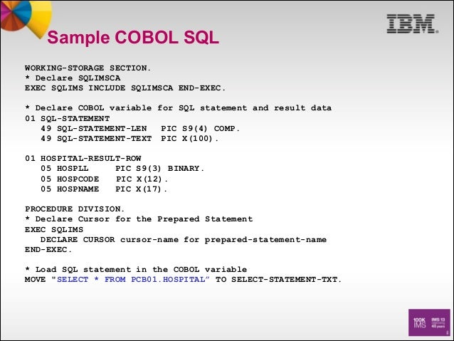 standard access to ims data from cobol using sql