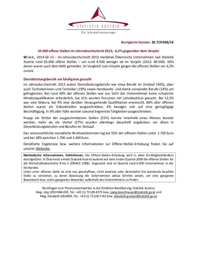 Korrigierte Version: 10.719-028/14 65.000 offene Stellen im Jahresdurchschnitt 2013; -6,5% gegenüber dem Vorjahr W i e n ,...