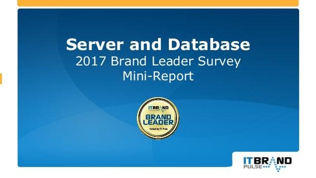 Server and Database 2017 Brand Leader Survey Mini-Report