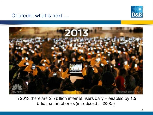 Or predict what is next….  In 2013 there are 2.5 billion internet users daily – enabled by 1.5 billion smart phones (intro...