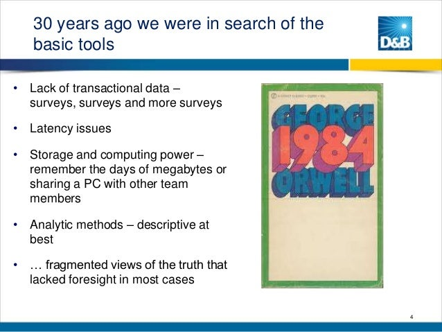 30 years ago we were in search of the basic tools • Lack of transactional data – surveys, surveys and more surveys • Laten...