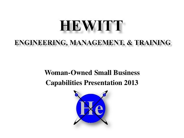 Woman-Owned Small Business Capabilities Presentation 2013