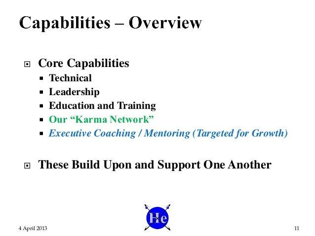 " Core Capabilities  Technical  Leadership  Education and Training  Our ""Karma Network""  Executive Coaching / Mentori..."