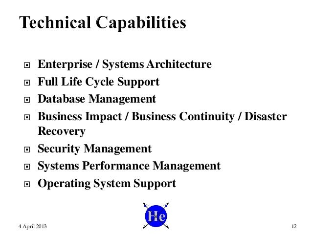 Enterprise / Systems Architecture  Full Life Cycle Support  Database Management  Business Impact / Business Continuit...