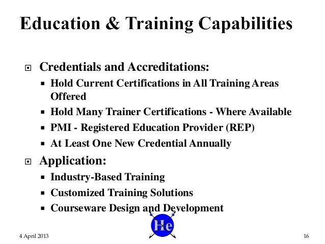  Credentials and Accreditations:  Hold Current Certifications in All Training Areas Offered  Hold Many Trainer Certific...