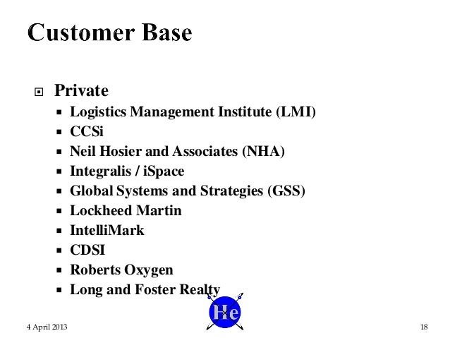  Private  Logistics Management Institute (LMI)  CCSi  Neil Hosier and Associates (NHA)  Integralis / iSpace  Global ...