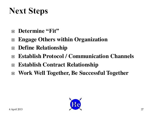 """ Determine """"Fit""""  Engage Others within Organization  Define Relationship  Establish Protocol / Communication Channels ..."""
