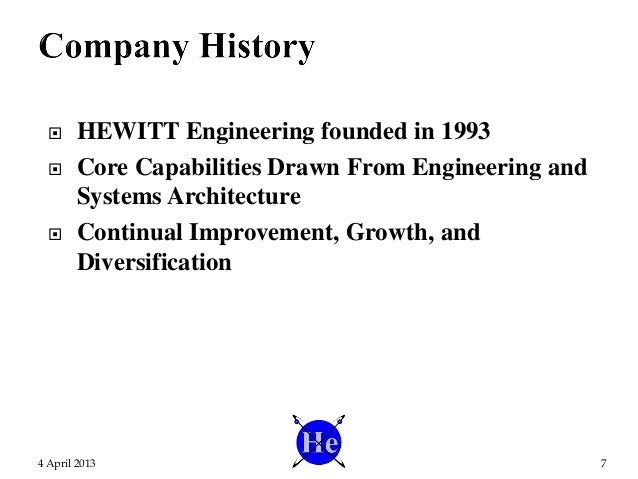 HEWITT Engineering founded in 1993  Core Capabilities Drawn From Engineering and Systems Architecture  Continual Impro...