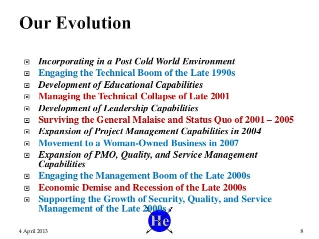  Incorporating in a Post Cold World Environment  Engaging the Technical Boom of the Late 1990s  Development of Educatio...