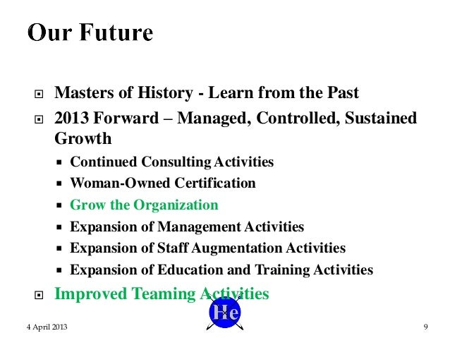  Masters of History - Learn from the Past  2013 Forward – Managed, Controlled, Sustained Growth  Continued Consulting A...