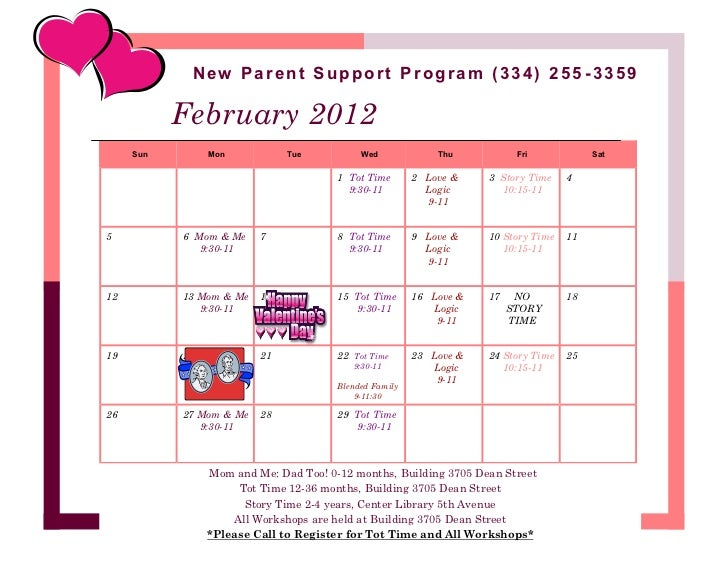 New Parent Support Program (334) 255 -3359           February 2012     Sun        Mon           Tue           Wed         ...