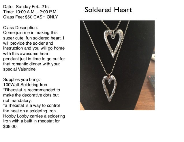 Feb classes 2016 for Jewelry soldering kit hobby lobby
