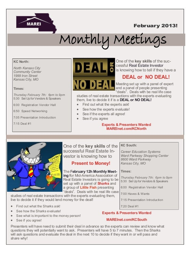 February 2013!                                     Monthly Meetings    KC North:                                          ...