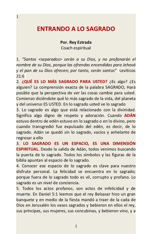 """1           ENTRANDO A LO SAGRADO                       Por. Rey Estrada                       Coach espiritual1. """"Santos ..."""