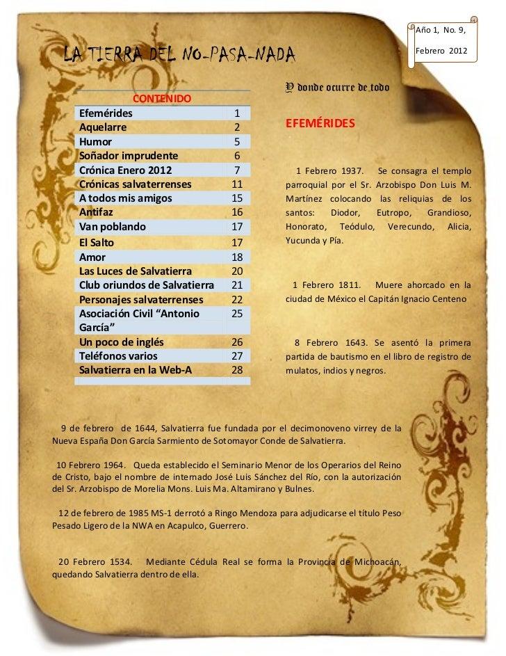 Año 1, No. 9,  LA TIERRA DEL NO-PASA-NADA                                                            Febrero 2012         ...
