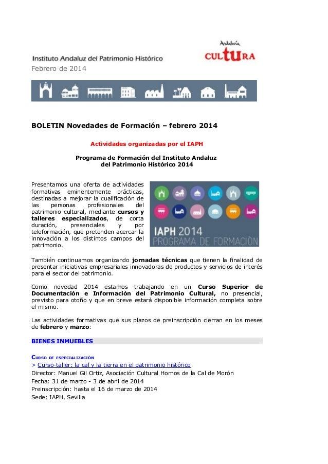 Febrero de 2014  BOLETIN Novedades de Formación – febrero 2014 Actividades organizadas por el IAPH Programa de Formación d...