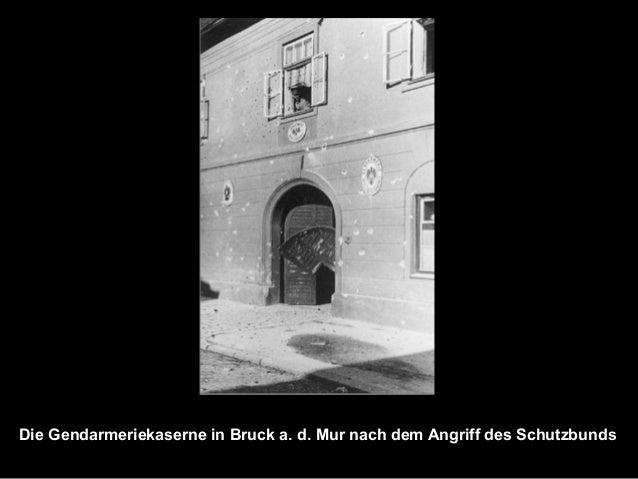 Die Gendarmeriekaserne in Bruck a. d. Mur nach dem Angriff des Schutzbunds