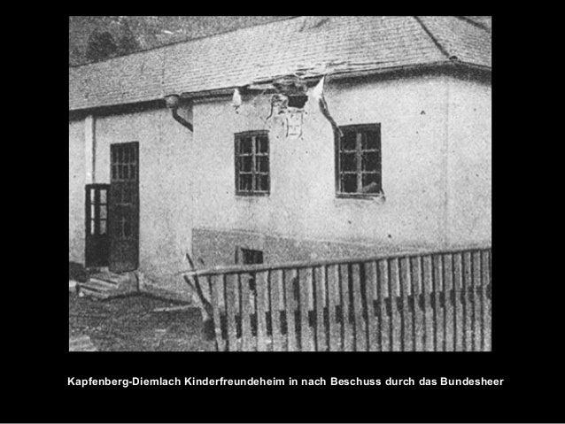 Kapfenberg-Diemlach Kinderfreundeheim in nach Beschuss durch das Bundesheer