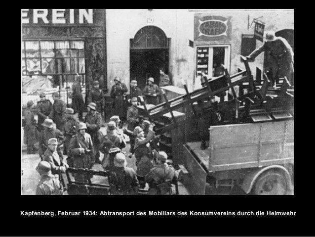 Kapfenberg, Februar 1934: Abtransport des Mobiliars des Konsumvereins durch die Heimwehr