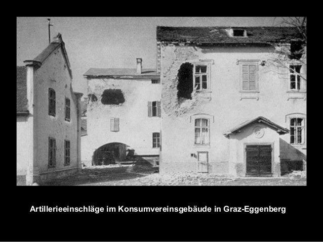 Artillerieeinschläge im Konsumvereinsgebäude in Graz-Eggenberg