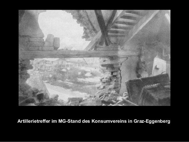 Artillerietreffer im MG-Stand des Konsumvereins in Graz-Eggenberg