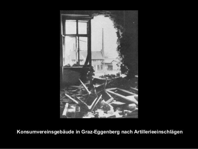 Konsumvereinsgebäude in Graz-Eggenberg nach Artillerieeinschlägen