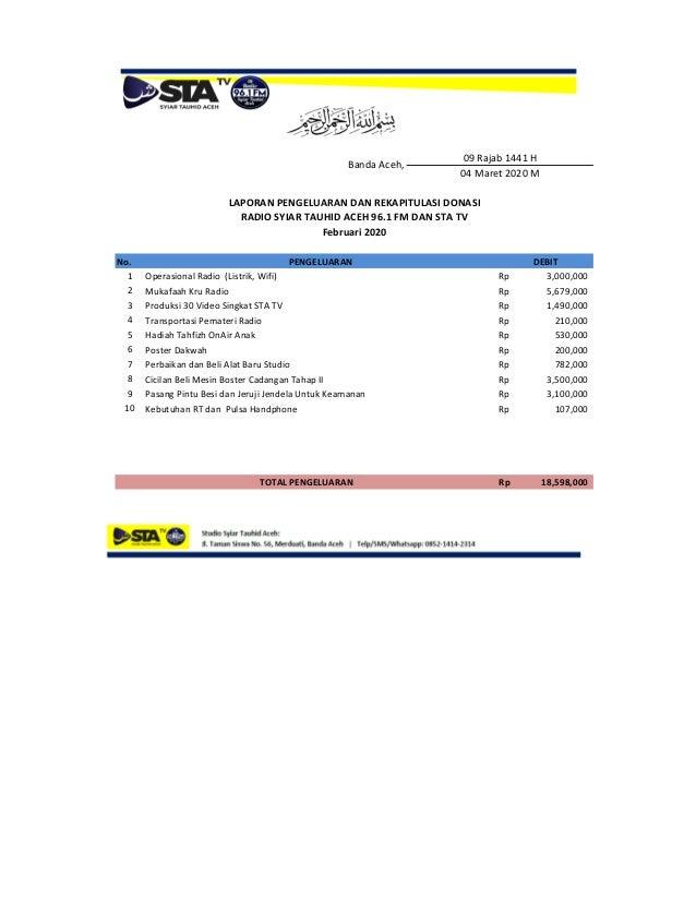 No. 1 Operasional Radio (Listrik, Wifi) Rp 3,000,000 2 Mukafaah Kru Radio Rp 5,679,000 3 Produksi 30 Video Singkat STA TV ...