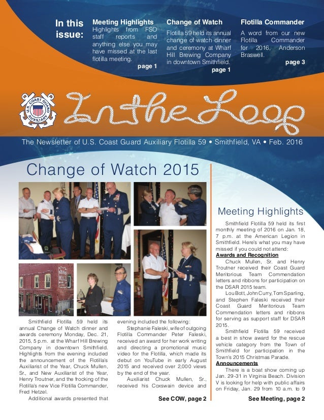 Change of Watch Flotilla 59 held its annual change of watch dinner and ceremony at Wharf Hill Brewing Company in downtown ...
