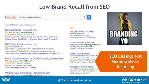 Low Brand Recall from SEO SEO Listings Not Memorable or Inspiring @Wordstream @larrykim Brought to you by: www.wordstream....