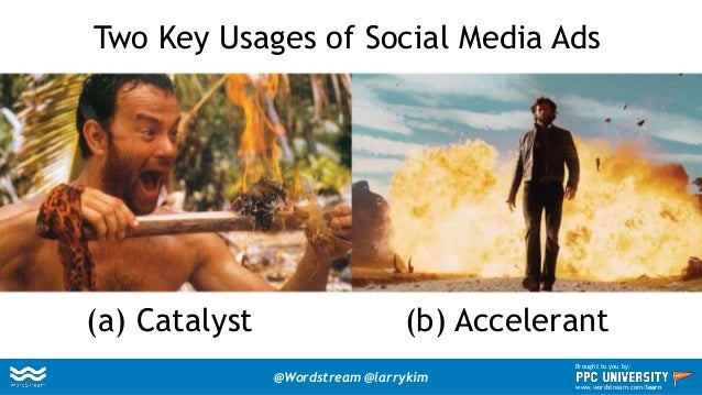 Two Key Usages of Social Media Ads (a) Catalyst (b) Accelerant @Wordstream @larrykim Brought to you by: www.wordstream.com...