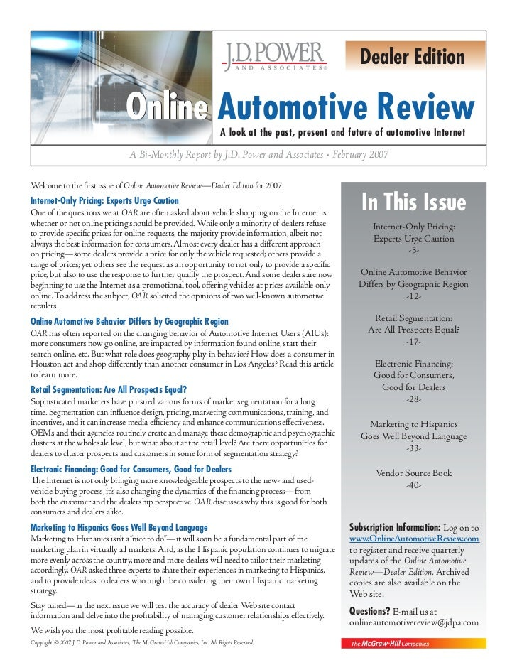 Dealer Edition                                          Online Automotive Review                 A look at the past, prese...