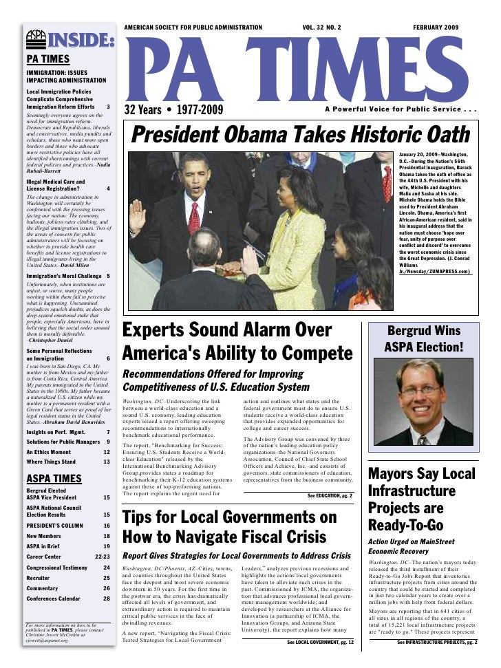 AMERICAN SOCIETY FOR PUBLIC ADMINISTRATION                             VOL. 32 NO. 2                              FEBRUARY...