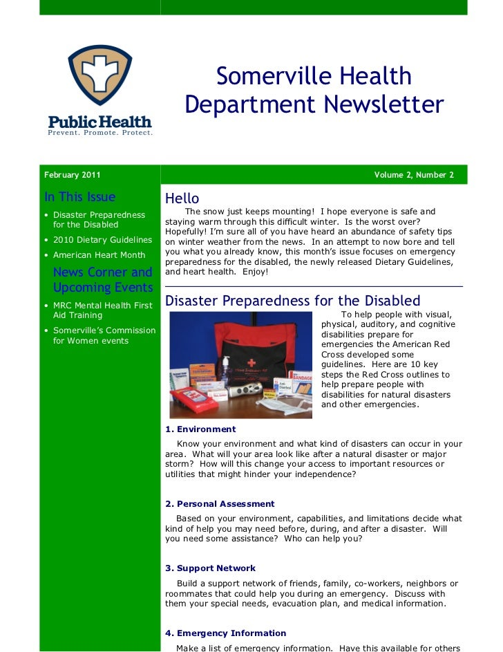 Somerville Health                                Department NewsletterFebruary 2011                                       ...