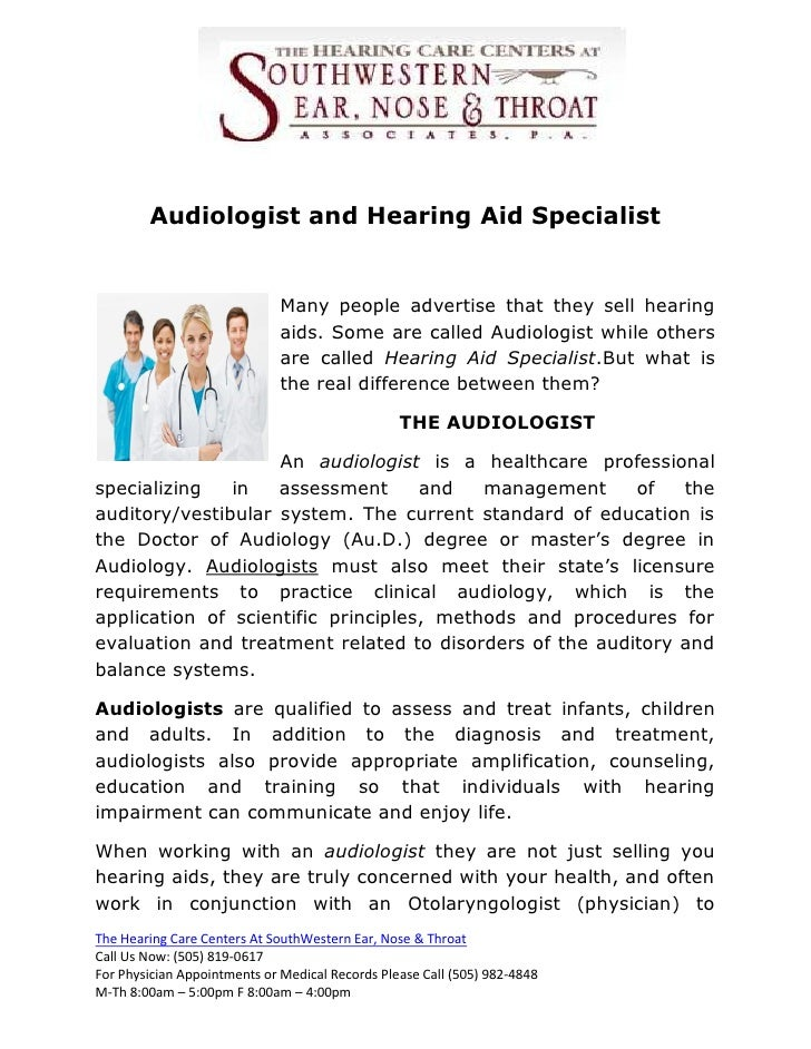 Audiologist And Hearing Aid Specialist
