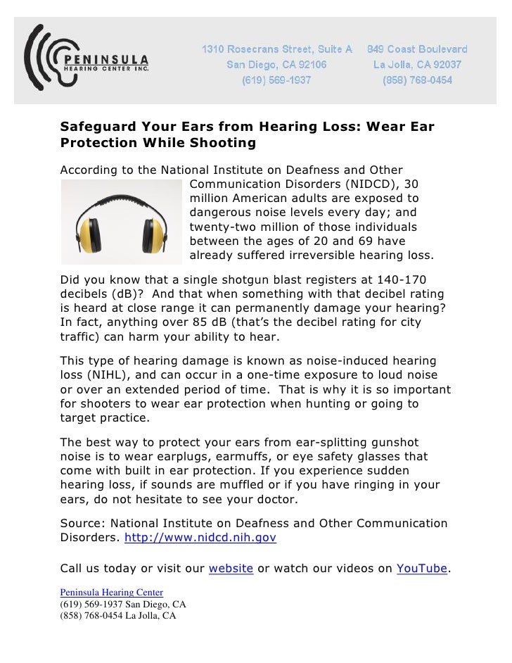 Safeguard Your Ears from Hearing Loss: Wear EarProtection While ShootingAccording to the National Institute on Deafness an...