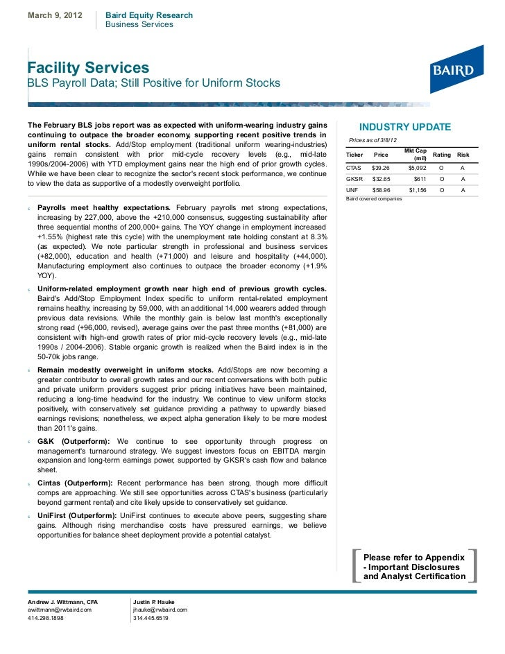 March 9, 2012             Baird Equity Research                          Business ServicesFacility ServicesBLS Payroll Dat...