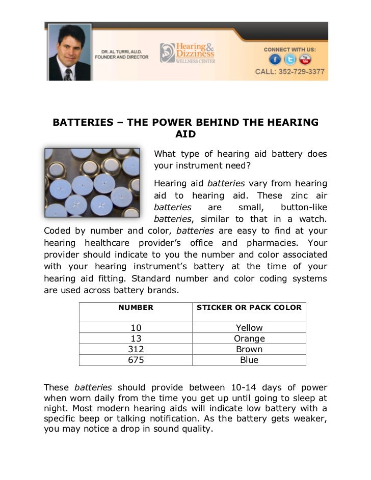 BATTERIES – THE POWER BEHIND THE HEARING                     AID                          What type of hearing aid battery...