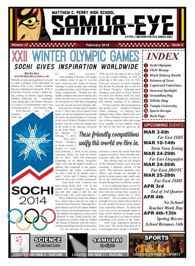 1 2 3 4 5 8 10 11 INDEX Sochi Olympics FEJC Recap Black History Month Science of Love Cupid and Valentines Samurai Spotlig...
