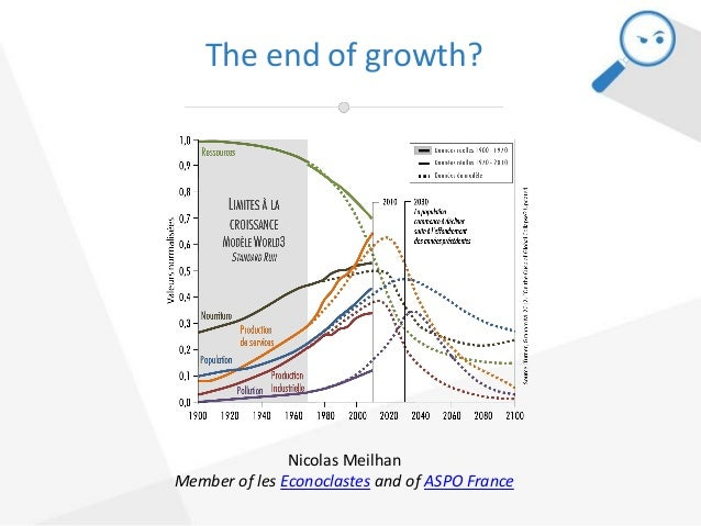 The end of growth? Nicolas Meilhan Member of les Econoclastes and of ASPO France