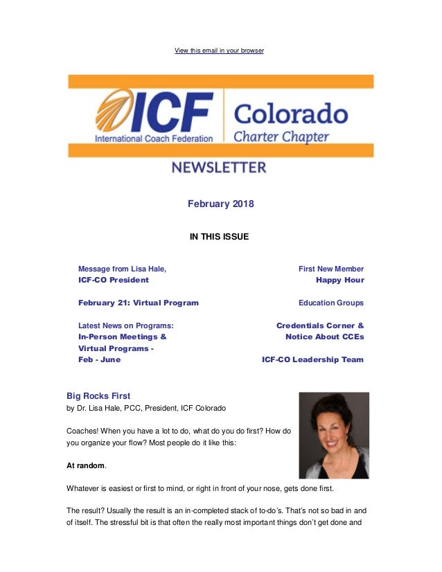 View this email in your browser February 2018 IN THIS ISSUE Message from Lisa Hale, ICF-CO President February 21: Virtual ...