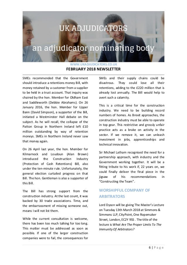 UK Adjudicators February 2018 newsletter