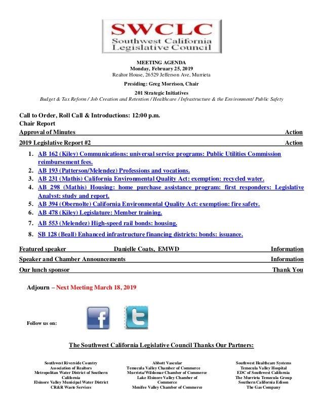 MEETING AGENDA Monday, February 25, 2019 Realtor House, 26529 Jefferson Ave, Murrieta Presiding: Greg Morrison, Chair 201 ...