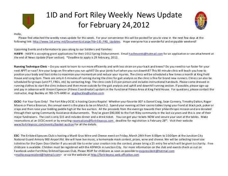 1IDandFortRileyWeeklyNewsUpdate                                  forFebruary24,2012Hello,    Pleasefindattache...