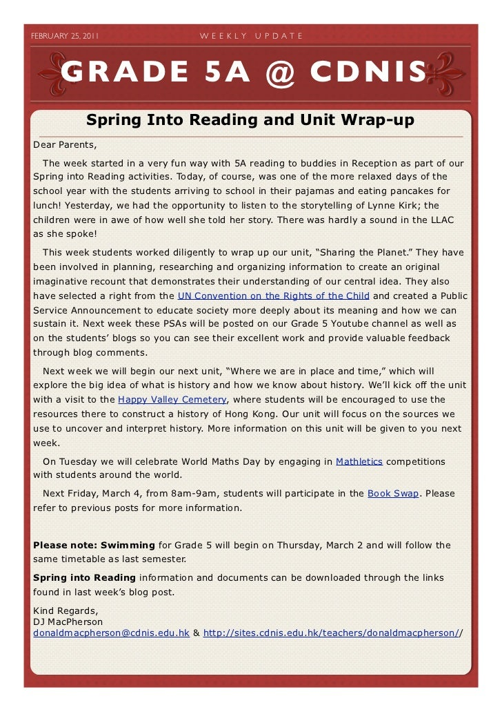 FEBRUARY 25, 2011                W E E K LY   U P D A T E        GRADE 5A @ CDNIS               Spring Into Reading and ...
